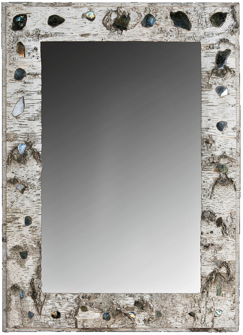 Grand miroir labradorite 475x655 birch bark furniture for Symbolique du miroir